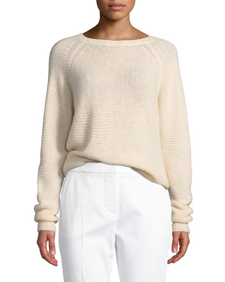 Loose-Weave Powder Cashmere-Silk Sweater in Pink
