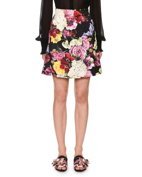 Dolce & Gabbana Floral-Brocade Jewel-Button Skirt