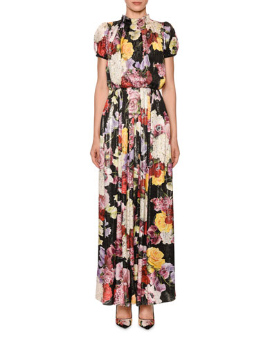 Mock-Neck Puff-Sleeve Floral Gown