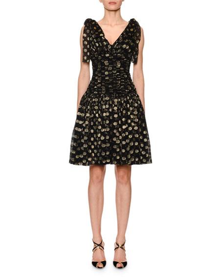 Dolce & Gabbana Flutter-Sleeve Fil Coupe Dot Chiffon