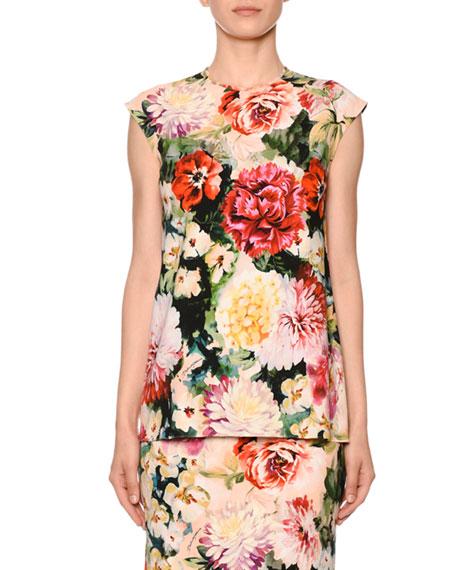 Dolce & Gabbana Cap-Sleeve Poppy-Print Cady Stretch Top