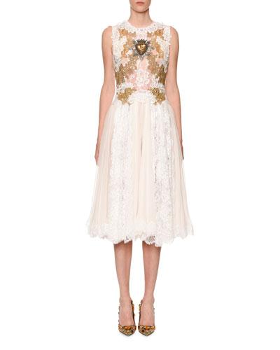 Sleeveless Sacred-Heart Embellished Chantilly Lace Dress