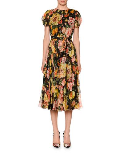 Puffed-Sleeve Belted Floral-Chiffon Midi Dress