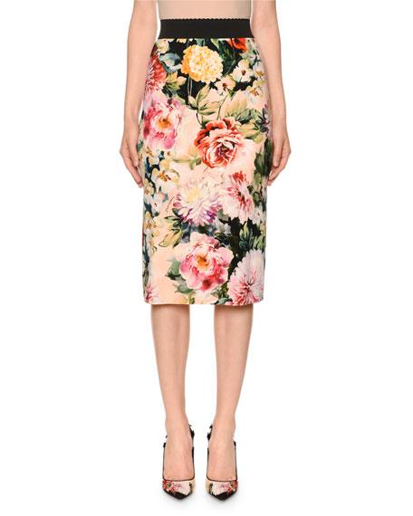 Dolce & Gabbana Poppy-Print Stretch Cady Midi Skirt