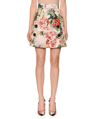Poppy-Brocade Jewel-Embellished Knee-Length Skirt