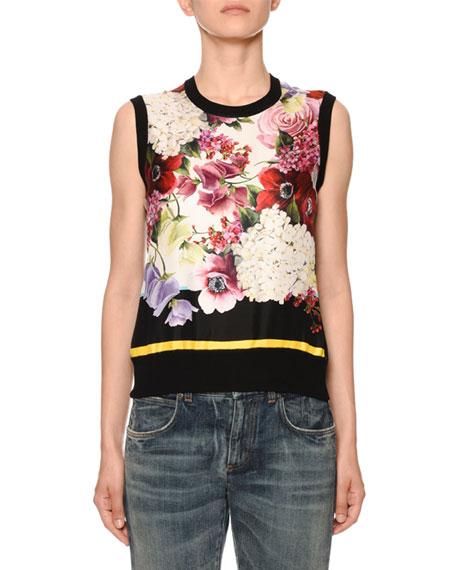 Dolce & Gabbana Floral-Print Silk-Front Shell