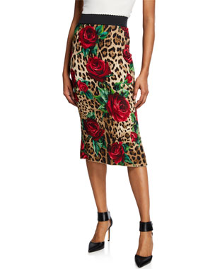 f3b0411e85a Dolce   Gabbana Rose   Leopard Tube Skirt