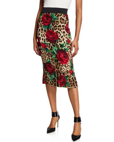 Rose & Leopard Tube Skirt