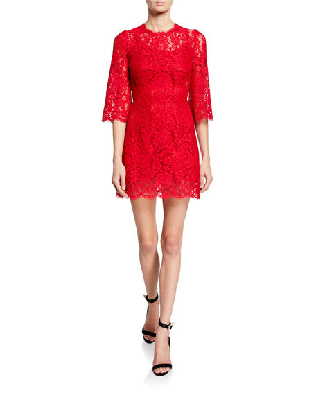Dolce & Gabbana 3/4-Flare Sleeve Cordonetto Lace Illusion