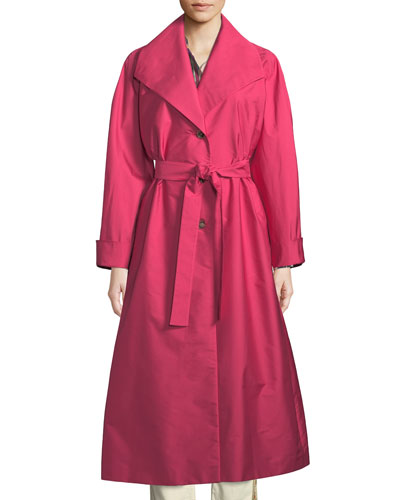 Long Taffeta Trench Coat