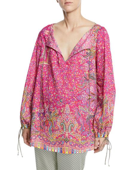 Etro Micro-floral Cotton Peasant Blouse In Multicoloured