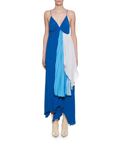 Ben Taverniti Unravel Project STRAPPY TRI-TONE DRAPED CREPEON DRESS