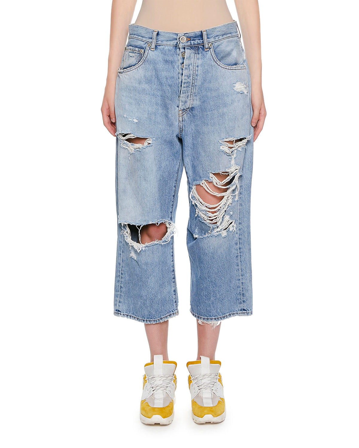 UNRAVELRipped Baggy Crop Jeans