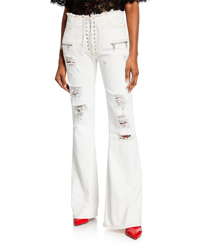 Lace-Up Washout Flare-Leg Jeans
