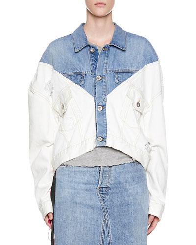 Stonewashed Hybrid Chopped Denim Jacket