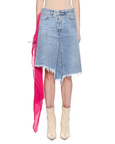 Raw-Trim Denim Skirt with Pleated Chiffon Scarf Detail