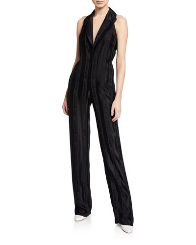 Formal Sleeveless Jacquard Jumpsuit