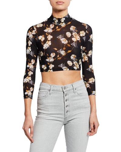 Long-Sleeve Floral Crop Top