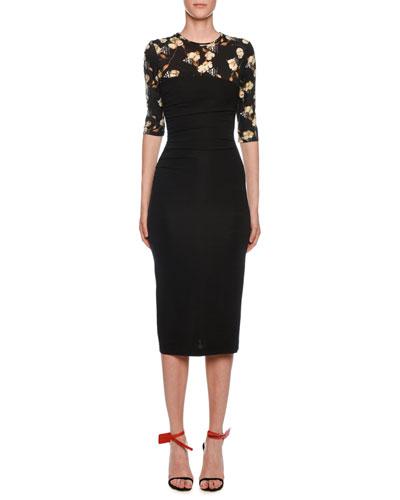 Draped Floral-Print Mesh Illusion Sheath Dress