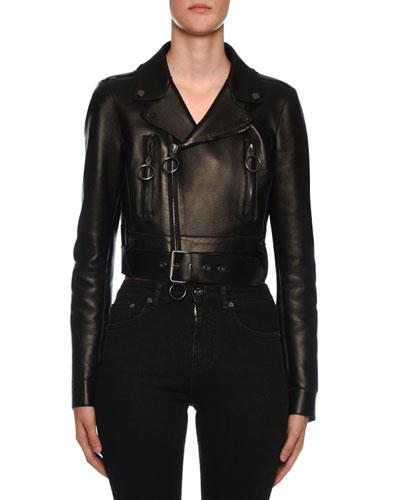 Embossed-Back Leather Biker Jacket