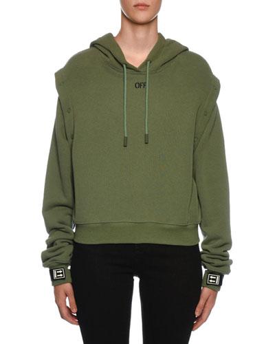 Snap-Off Sleeve Hooded Sweatshirt  Olive