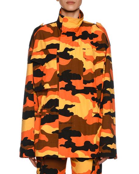 Oversized Camouflage-Print Cotton Jacket in Orange