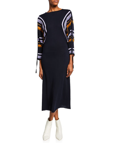 Striped Dolman-Sleeve Midi Dress