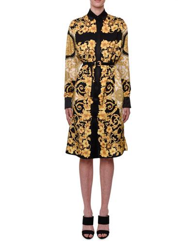 Long-Sleeve Hibiscus-Print Shirtdress