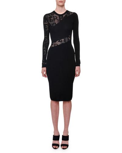 Long-Sleeve Crewneck Tattoo-Knit Knee-Length Dress