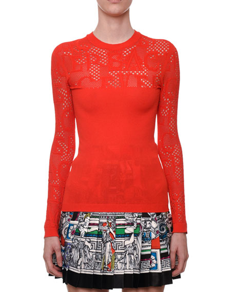 Versace Tattoo-Knit Crewneck Long-Sleeve Top