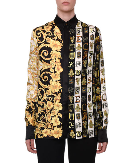 Versace Long-Sleeve Button-Front Hibiscus & Letter-Print Silk