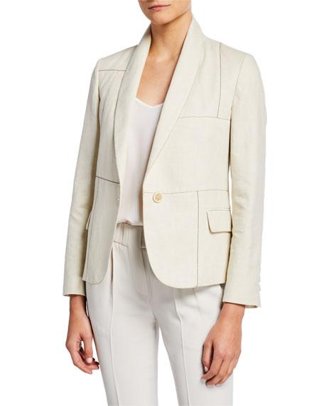Brunello Cucinelli Shawl-Collar One-Button Linen-Cotton Blazer w/ Monili Trim