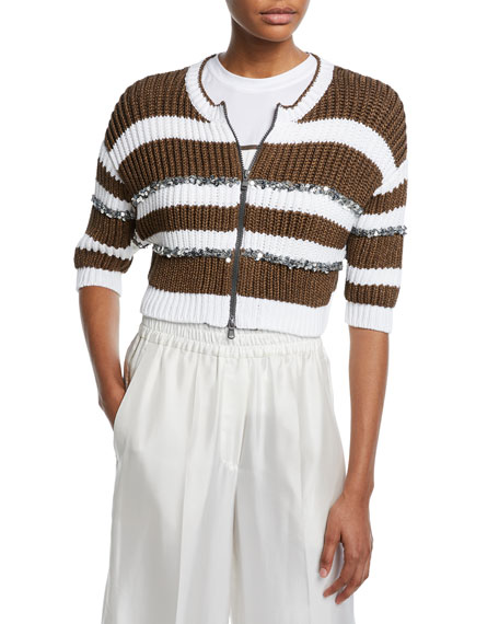 d78c00dc19b Brunello Cucinelli Pailletteed-Striped Ribbed Zip-Front Cardigan