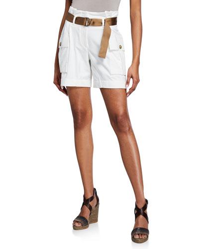 Felpa Paperbag-Waist Shorts