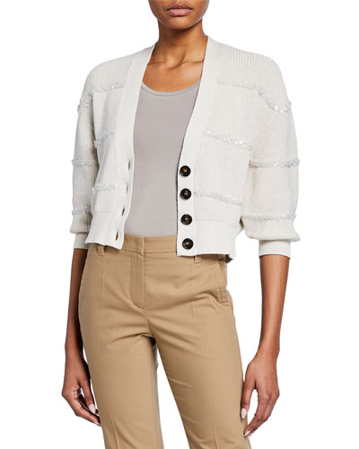 Sequin-Striped Textured Cropped Cardigan