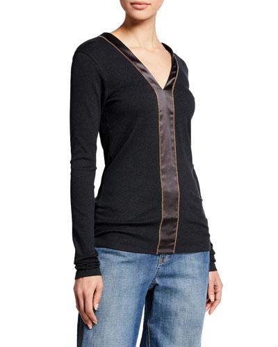 Long-Sleeve Ribbed Cotton Satin Strip Top