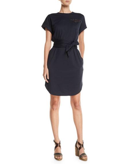 Brunello Cucinelli Beaded Short-Sleeve Tie-Waist Shirtdress