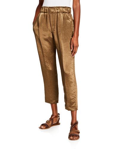 Textured Satin Pull-On Pants