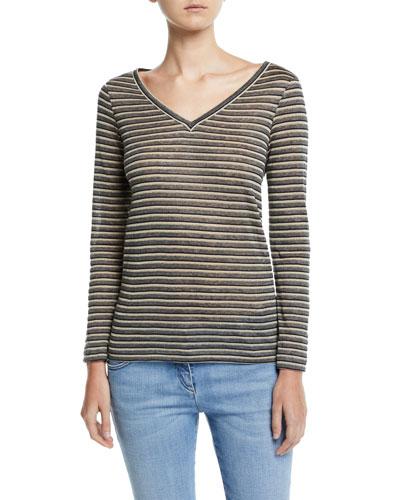 Long-Sleeve Shimmer-Striped V-Neck Top
