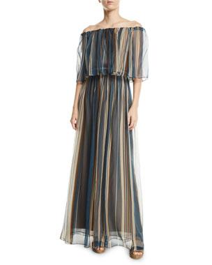 b0411ccb7d2 Brunello Cucinelli Off-The-Shoulder Striped Organza Gown
