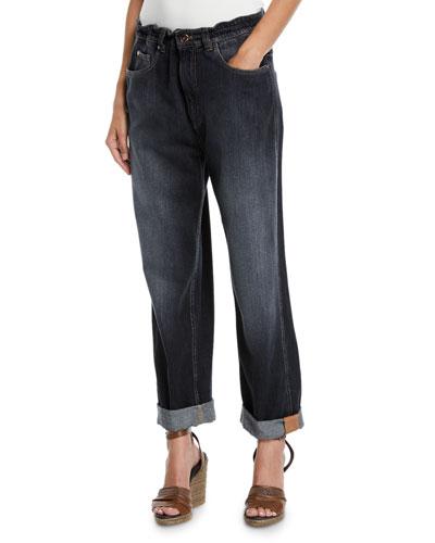 Dark Faded Denim Boyfriend Jeans with Grosgrain Detail