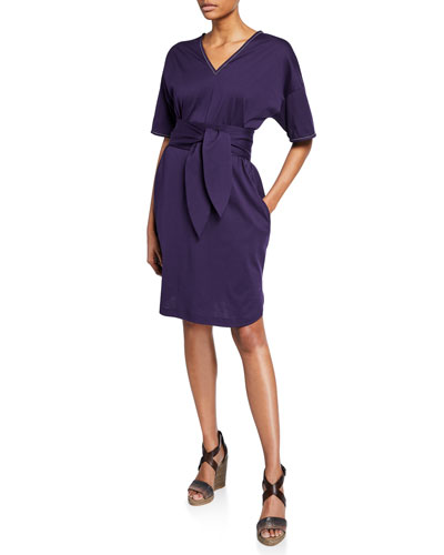 Monili-Beaded 1/2-Sleeve Cotton Wrap Dress