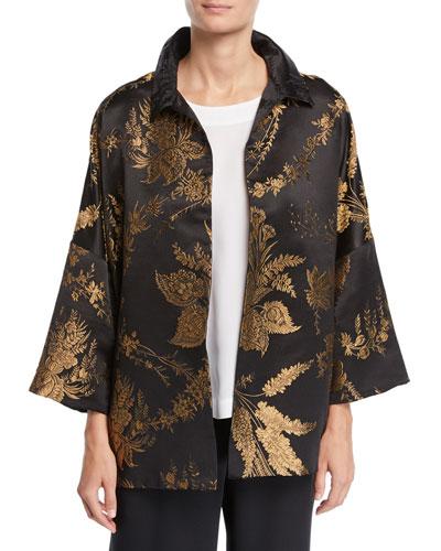 3/4-Sleeve Golden Floral-Jacquard Silk Jacket