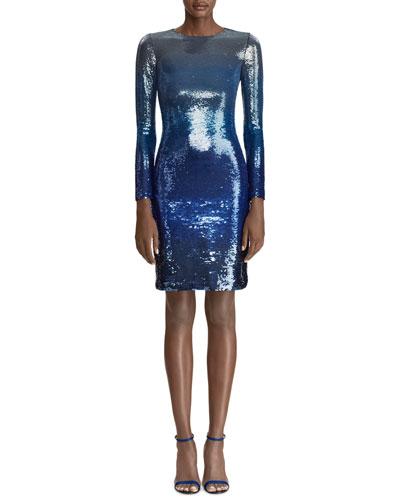 Long-Sleeve Ombre Sequin Bodycon Dress