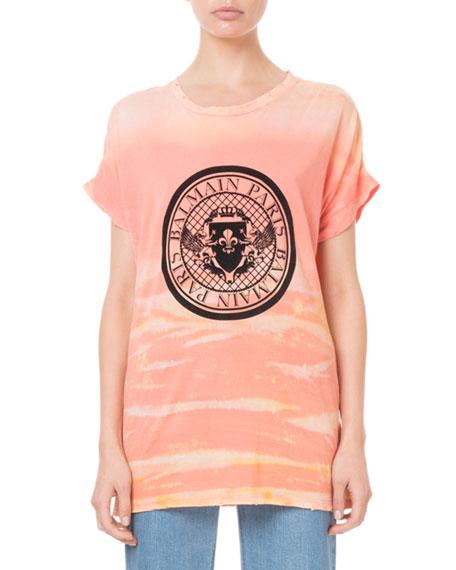 Balmain Short-Sleeve Tie-Dye Coin Logo Tee