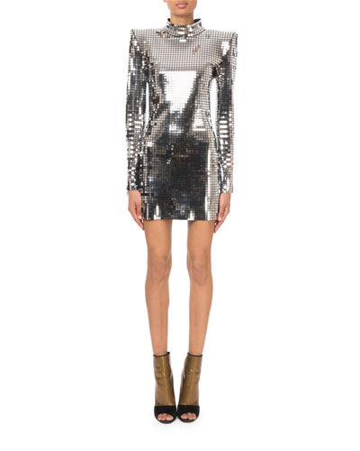 Mock-Neck Long-Sleeve Square-Mirror Cocktail Dress