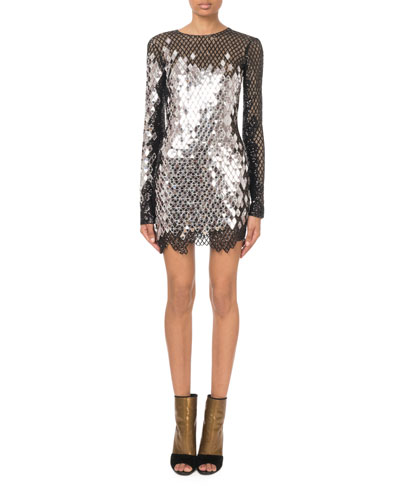 Long-Sleeve Mirrored-Sequin Mesh Mini Dress