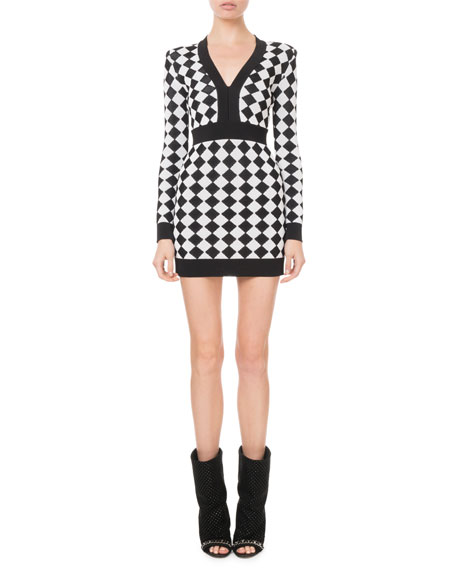 Monochrome Diamond-Jacquard Mini Dress in Black