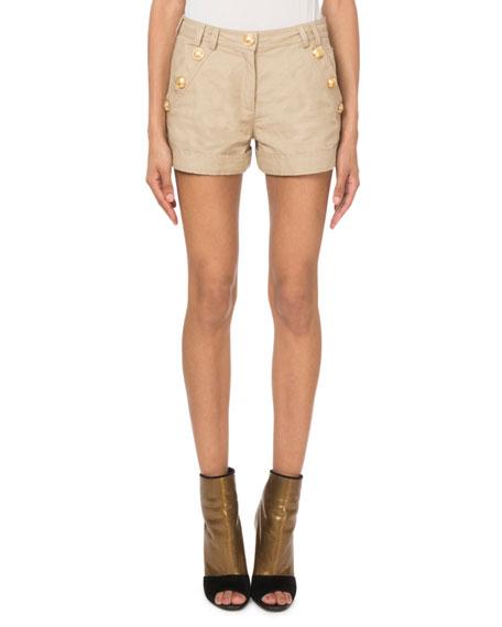 Balmain Golden-Button Canvas Shorts