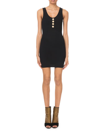 Sleeveless Button-Front Ribbed Dress
